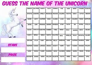 GUESS THE NAME OF UNICORN FUNDRAISING SCRATCHCARD EVENT 100 Squares Game Charity