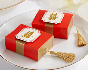 24 Double Happiness Asian Theme Bridal Shower Wedding Favor Boxes