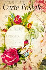 Postcard French Vintage Shabby Chic Style, Flowers, Roses, Floral, 95J