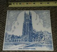 North Carolina NC Durham Duke University Chapel Tower CERAMIC TILE Vintage 6""