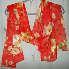 Red Background with Gold Roses, Silk Oblong Scarf