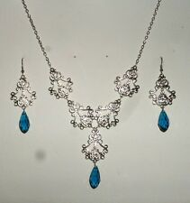 FILIGREE VICTORIAN STYLE SILVER PLAT PEACOCK BLUE BRIOLETTE NECKLACE EARRING SET