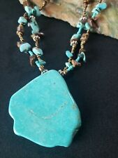 Stunning Copper & blue stone Statement Pendant necklace Turquoise Tigers eye
