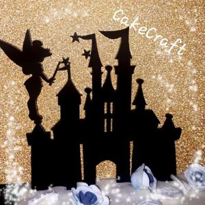 Acrylic black Disney princess,tinkerbell castle birthday cake topper decoration