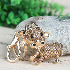 Cute Calf Cow Charm Crystal Purse Bag Keyring Key Chain Accessories Wedding Gift