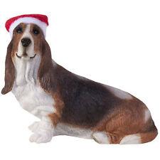 BASSET HOUND Ornament Santa Hat NEW Christmas Sandicast Dog Hand Cast Painted