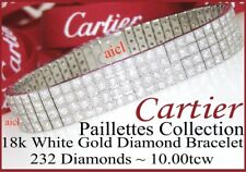 CARTIER PAILLETTES 18k WHITE GOLD 4 ROW DIAMOND BRACELET  232 DIAMONDS  10tcw