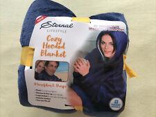 Cozy Hoodie Blanket, Ultra Plush Hooded Blanket Robe, Premium Fleece, Dark Blue