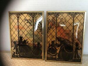 "2 VINTAGE REVERSE PAINTED SILHOUETTE PICTURES W/ CONVEX BUBBLE GLASS 5"" X 7"""
