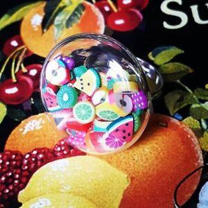 Unique FRUIT SALAD SHAKER RING adjustable MINIATURE food HANDMADE healthy SWEET