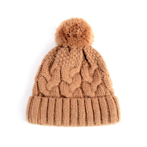 Warm Soft Cable Knit 80% Wool Beanie hat with Fleece lining