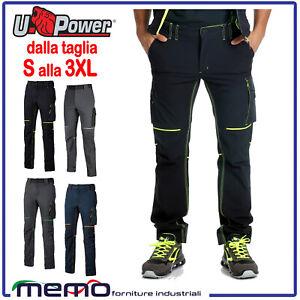 PANTALONE da lavoro Uomo in Cargo Slim Fit elasticizzati neri U POWER mutitasche