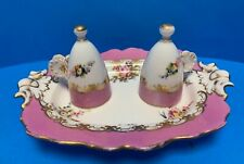 C1840's ANTIQUE ENGLISH PORCELAIN CANDLE SNUFFERS ON STAND MINTON COALPORT