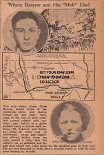 "MAY 27, 1934 NEWSPAPER COPY- BONNIE & CLYDE- WHERE BARROW AND HIS ""MOLL"" DIED"