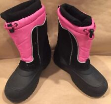 Totes Girls Winter Boots JEANIE Leather Upper Youth Size 6 M PInk/Black w Liners