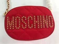 MOSCHINO COUTURE JEREMY SCOTT Quilted Red Oval shoulder bag w/ Studded Gold Logo