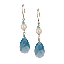 Drop Earrings made with Swarovski Crystals and Cultured Freshwater Pearls