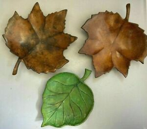 Set of 3 Distressed Metal Leaf Plates Candle - Nut - Candy Decor Green & Brown