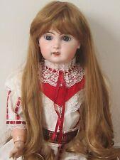 """perruque blond foncé Jumeau®Tête biseau 34/36cm-poupée ancienne-Doll Wig sz14"""""""