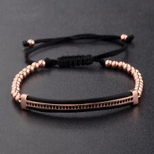 4mm Zircon Long Bracelet Micro CZ Paved Rose Gold Braiding Men Macrame Jewelry