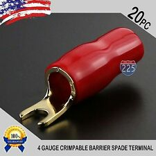 4 Gauge Gold Spade Fork Terminal 20 pack Wire Crimp Insulated 5/16 connector AWG