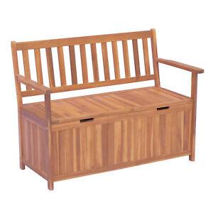 Gartenbank mit Stauraum Truhenbank Sitzbank Auflagenbox 2-Sitzer Holz Braun
