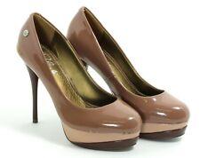 419 Zapatos de Tacón Charol Mujer Elegante Tacones Altos Blink Braun Beis Office