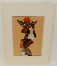 SMALL REAL BUTTERFLY WINGS AFRICAN WOMAN PAINTING