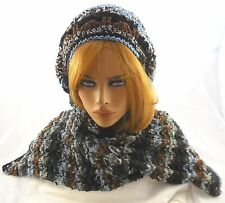 NEW Handmade knit Scarf and slouchy hat black grey brown slate SCARF 54X10