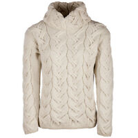 Ladies Chunky Cable Cowl Wool Sweater by Aran Mills - Cream