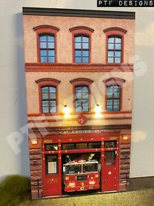 """O Scale Scratch Built """"FIRE HOUSE"""" Department Station LED Front/Flat MTH Lionel"""