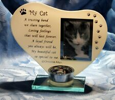 My Cat - Poem, candle and photo holder glass memorial plaque