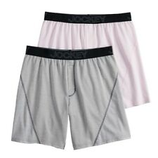 Jockey Two Pack Essential Fit No Bunch Boxers Grey Pink Mens Large New