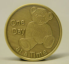 SOBRIETY MEDALLION - BRONZE - TEDDY BEAR- ONE DAY AT A TIME -RECOVERY CHIP