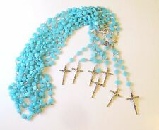 Wholesale Lot of 10 Beautiful Light Blue Heart Rosaries, Silver Tone Metal