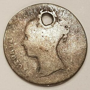 1856? Young Head Victoria Three Pence Silver Coin