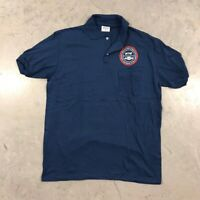 Vintage Chevrolet Work Polo Shirt XL Navy Blue Stedman 50/50 Chevy 80s