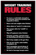 WEIGHT TRAINING RULES Professional Fitness Gym Wall Chart POSTER