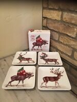 Pottery Barn Silly Stag Reindeer Appetizer Salad plates mixed set of 4 Christmas
