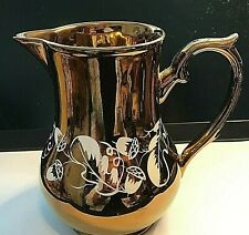 More details for vintage copper lustre ware jug with hand painted oak pattern wade and co
