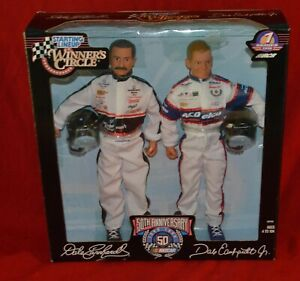 """VINTAGE 1998 WINNER'S CIRCLE DALE EARNHARDT & JR 12"""" FIGURES DOLL SET NEW SEALED"""
