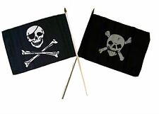 "12x18 12""x18"" Wholesale Combo Pirate Eye Patch & Crossbones Stick Flag"