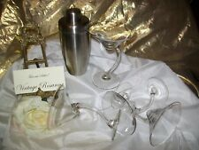 New listing Martini Glasses Set of 12 Swerve Stems & Stainless Martini Shaker Torre & Tagus