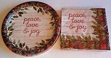 CHRISTMAS Paper Plates & Napkins  JOY,PEACE,LOVE