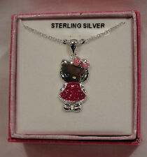 HELLO KITTY STERLING SILVER NECKLACE PENDANT PINK SWAROVSKI CRYSTALS NIB $109