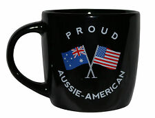 PROUD AUSSIE - AMERICAN TEA COFFEE MUG AUSTRALIAN SOUVENIR GIFT AMERICA BLACK
