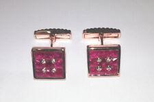 Pair Cufflinks 18k rose gold - Diamonds & Rubies   0266