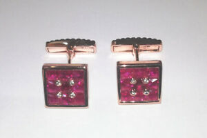 Pair Cufflinks 18k rose gold - Diamonds & Rubies   0266