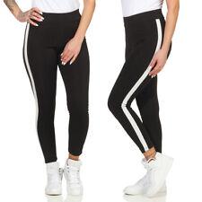 Damen Leggings Leggins Fitness Gym Jogginghose Sporthose Yoga Seitenstreifen 26