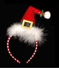 Novelty Christmas Sequin Santa Hat on Band Fancy Dress Fluffy Xmas
